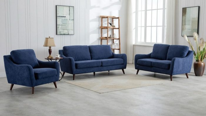 Mareno Sofa Set Dark Blue (3+2+1)