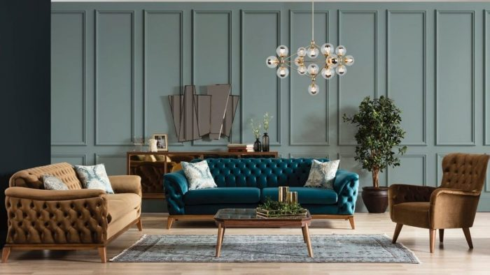 Blue & Brown Sofa Set (3+2+1)