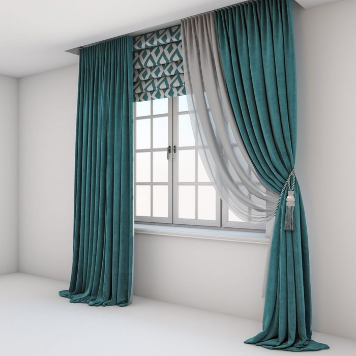Modern Curtain Pair Blue 200×275cm