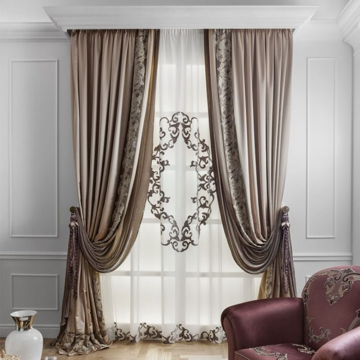 Tricia Curtain Pair Beige 240×275cm