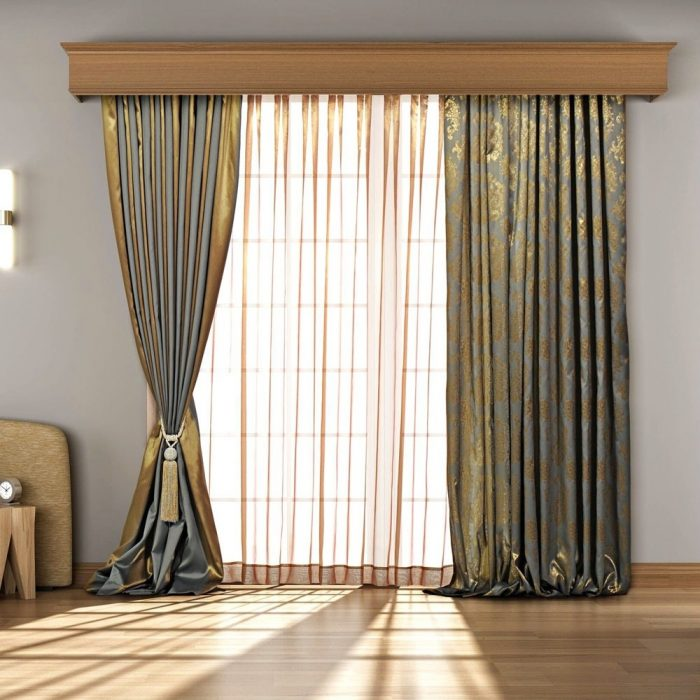Fret Curtain Pair Green & Gold 250×275cm