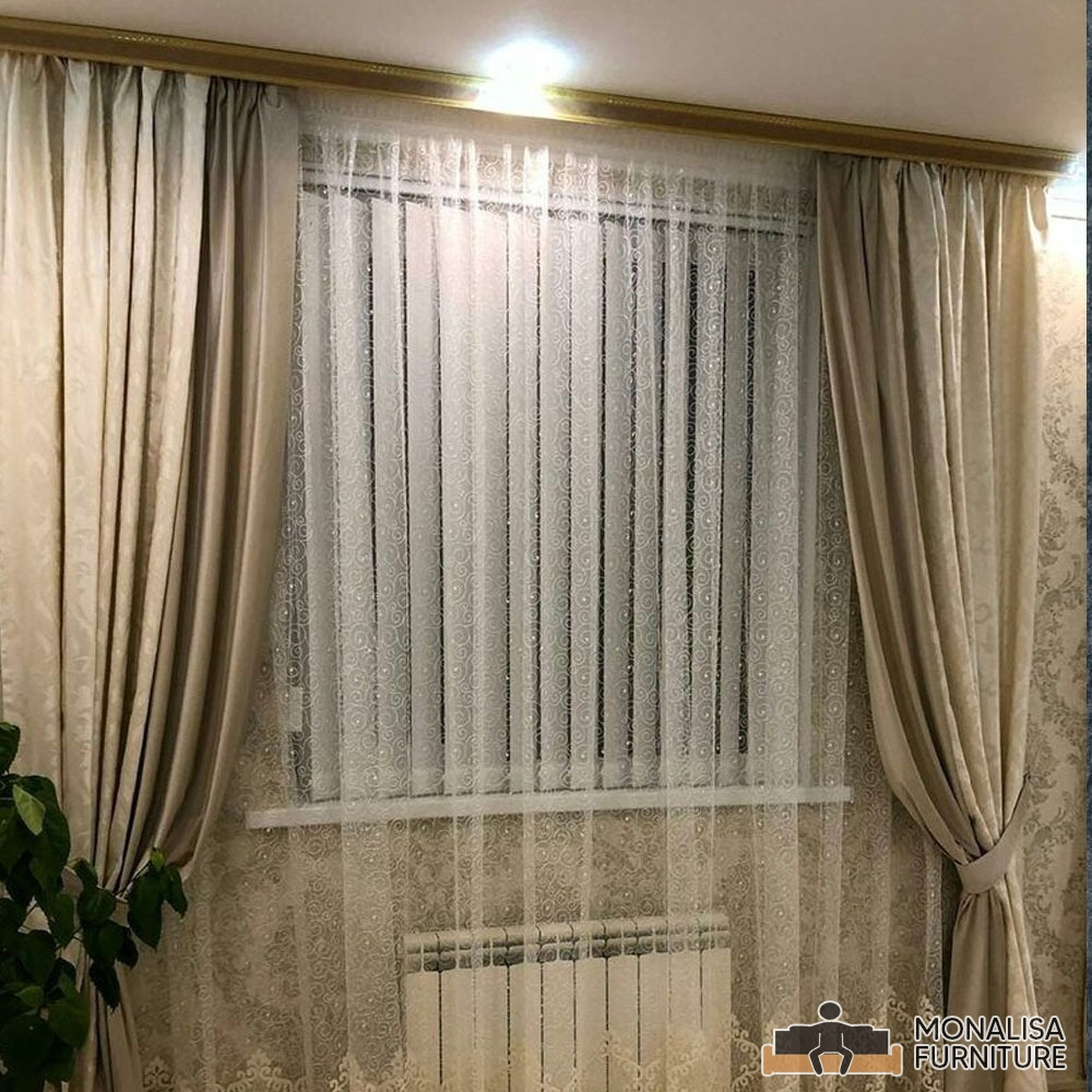 Telsa Curtain Pair Beige 200×275cm