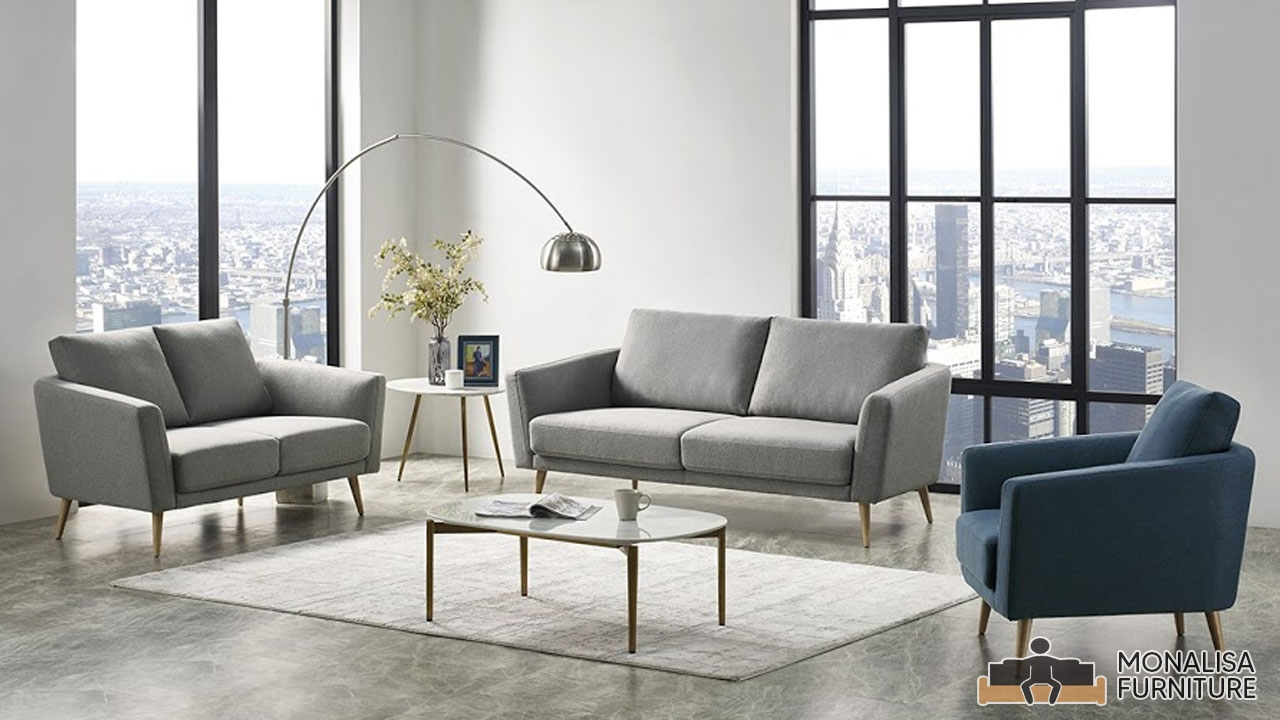 Modern Grey & Blue Sofa Set (3+2+1)