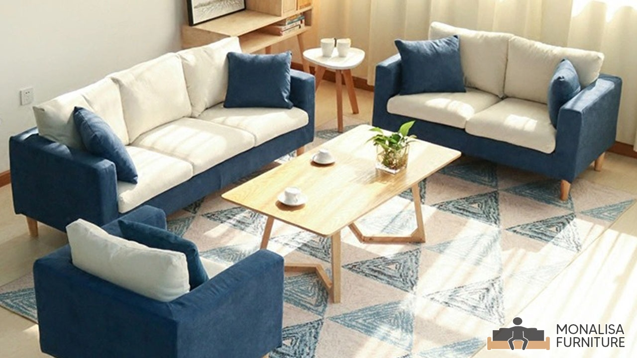 Sofa Set Blue & White (3+2+1)