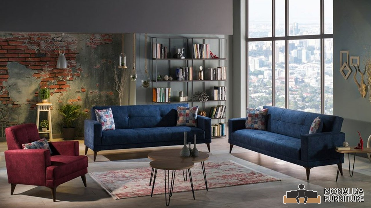 Dark Blue Sofa Set (3+2+1)